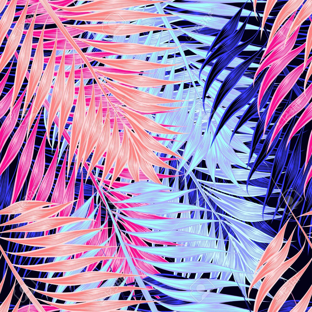 Seamless pattern of tropical leaves of palm tree - 123516926