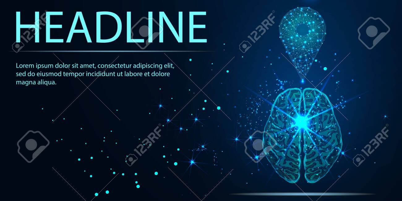 GPS pin low poly. Zoom Pin and human brain. Abstract Low-poly wireframe vector traveling illustration. Maps and navigator services. Headline - 123097252