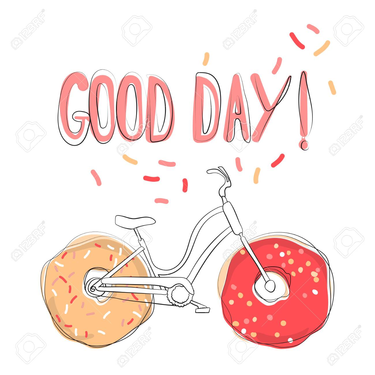Positive illustration with the words Good day  Unique design