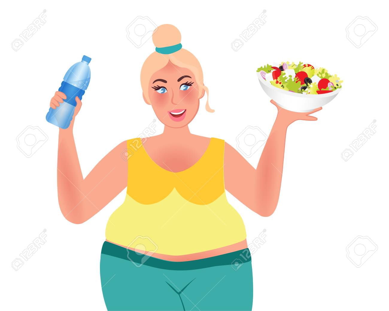 Losing weight. Full girl holds salad and water. Healthy lifestyle. Proper diet. Vector illustration - 123019681