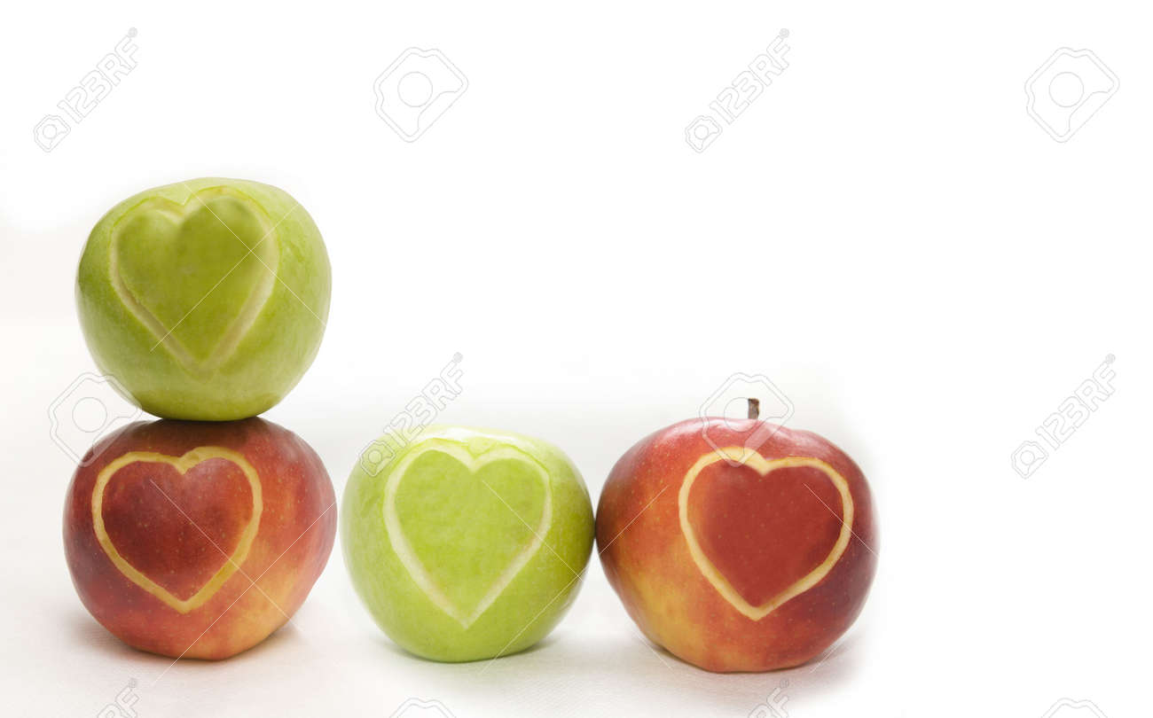 The image of the apples on which hearts are cut out Stock Photo - 4297356