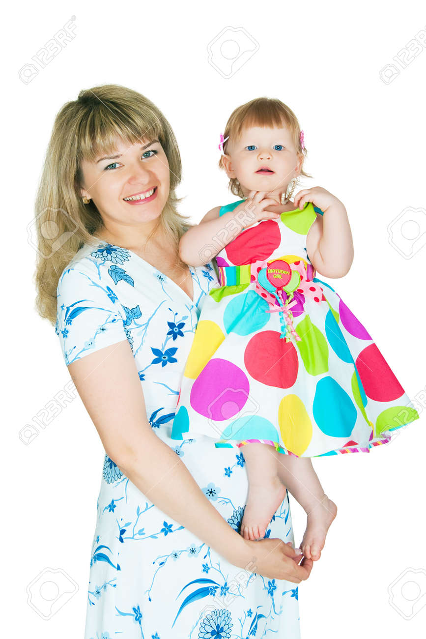The image of mum and the daughter on a white background Stock Photo - 12633081