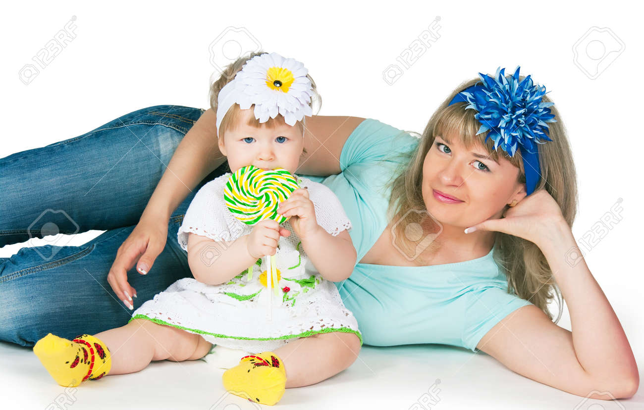 The image of mum and the daughter on a white background Stock Photo - 15658174