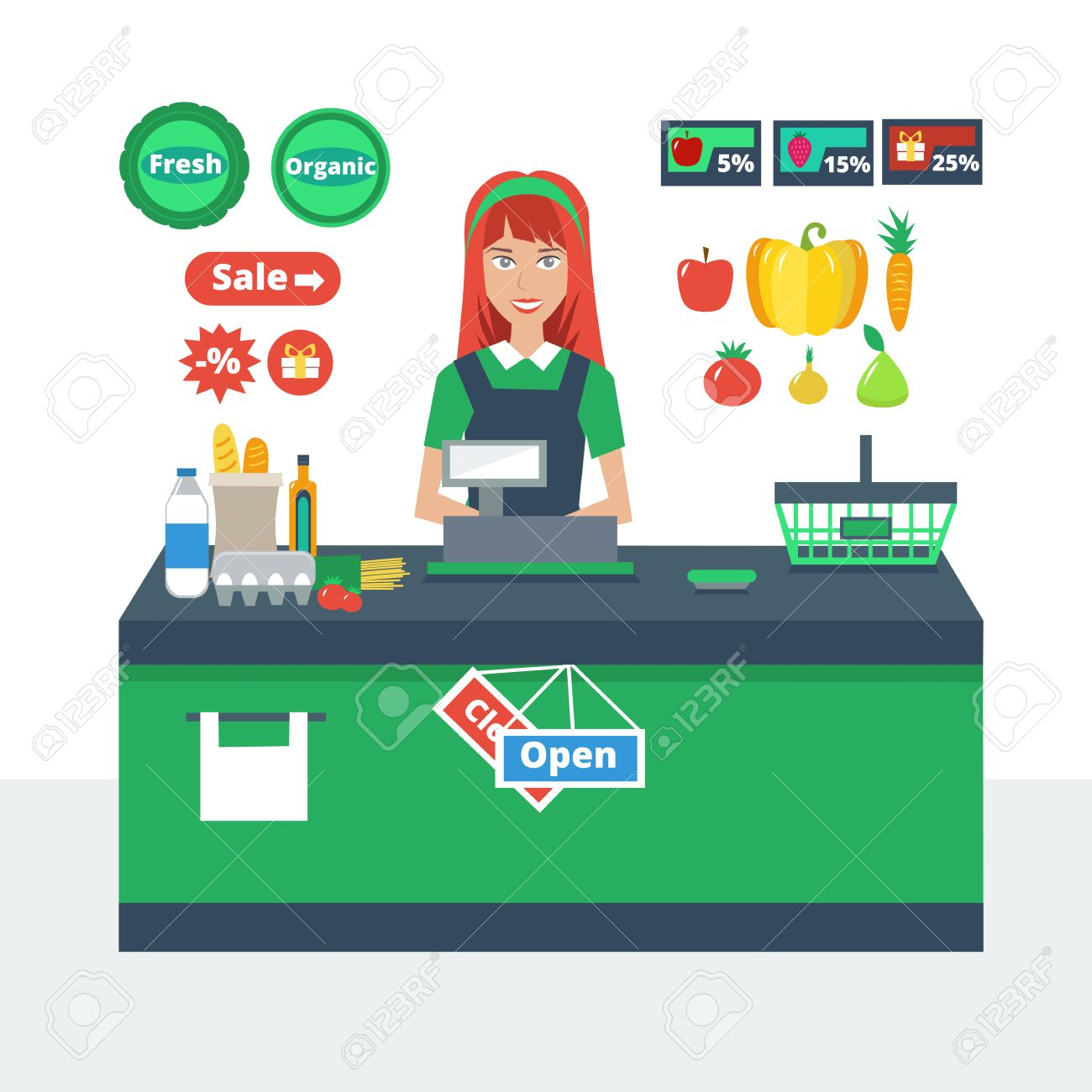 1,233 Supermarket Cashier Cliparts, Stock Vector And Royalty Free ...
