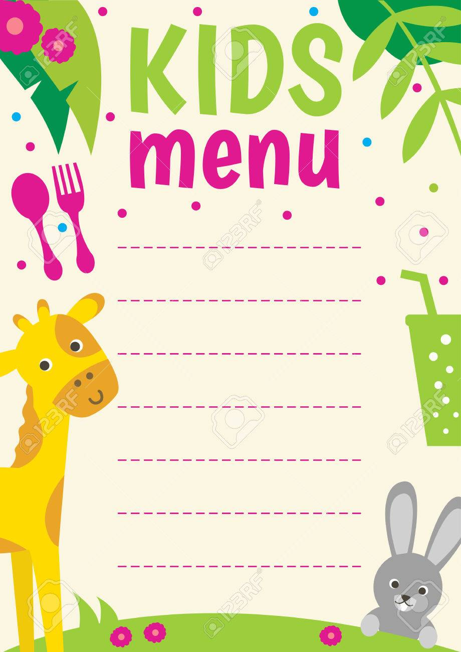 Cute Colorful Kids Menu Template With Cartoon Animals Royalty Free