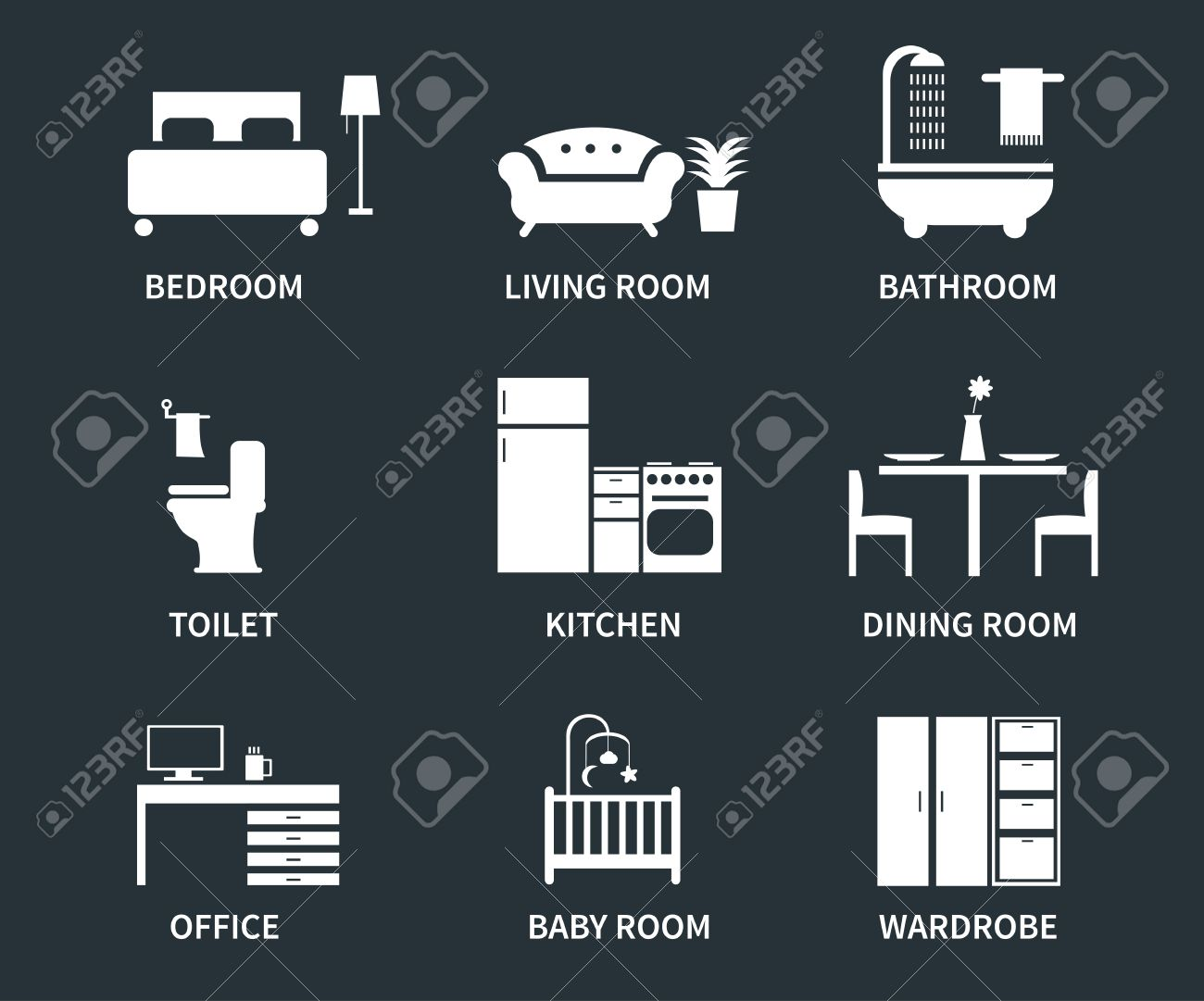 Home Interior Design Icons For Bedroom Living Room Bathroom Kitchen Dining