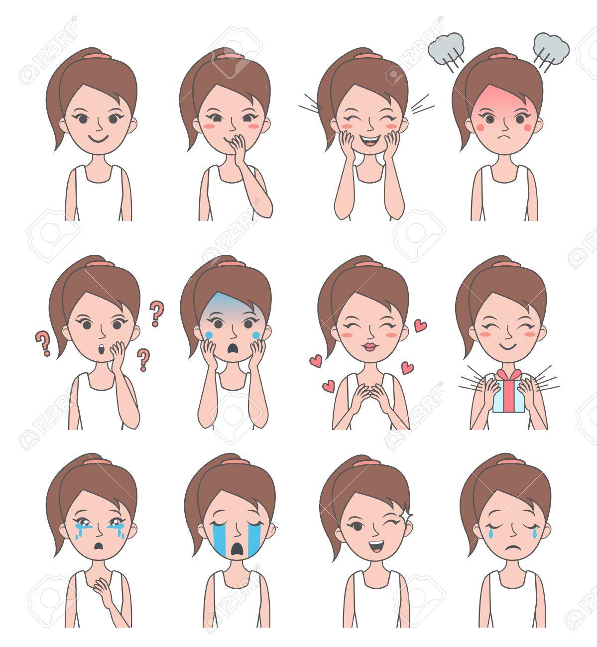 Fille Visage Emotion Vector Girl Avatars Avec Des Emotions Differentes Vector Illustration Clip Art Libres De Droits Vecteurs Et Illustration Image 58018135