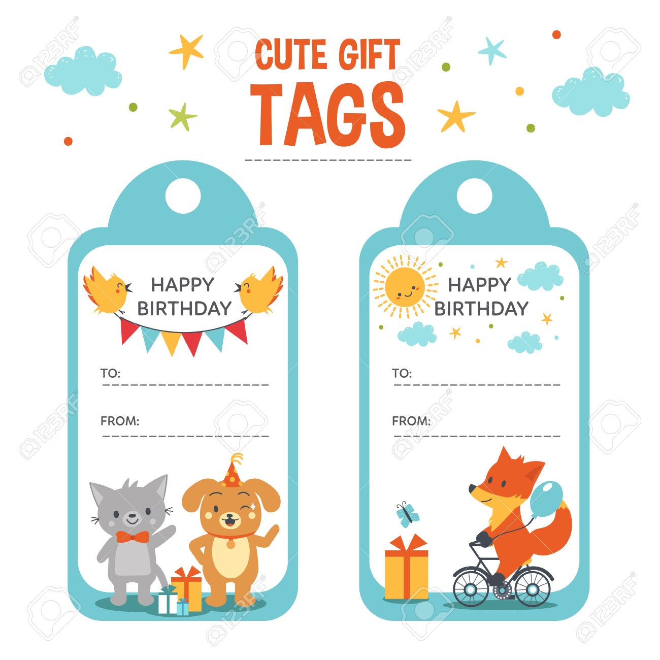 Cute Gift Tags Vector Templates Birthday With Text Place And Animals