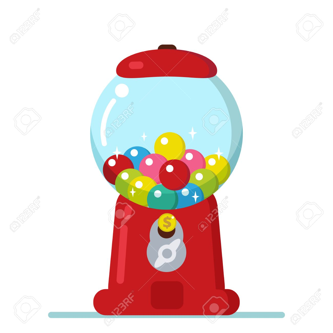 vector gumball machine illustration bubble gum machine in cartoon rh 123rf com machine a bubble gum clipart Bubble Gum Graphics