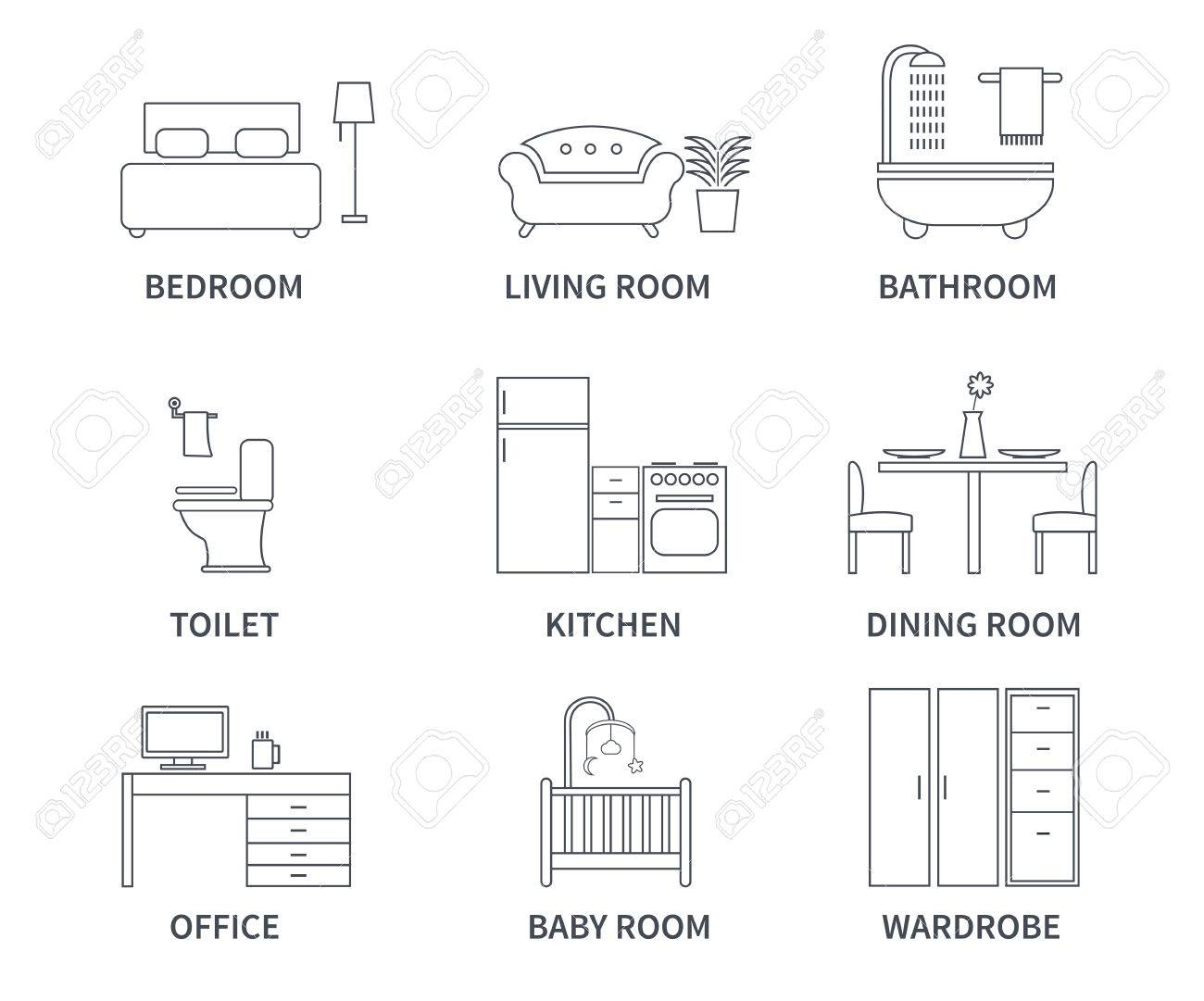Home Interior Design Icons For Bedroom, Living Room, Bathroom, Kitchen,  Dining Room Part 61
