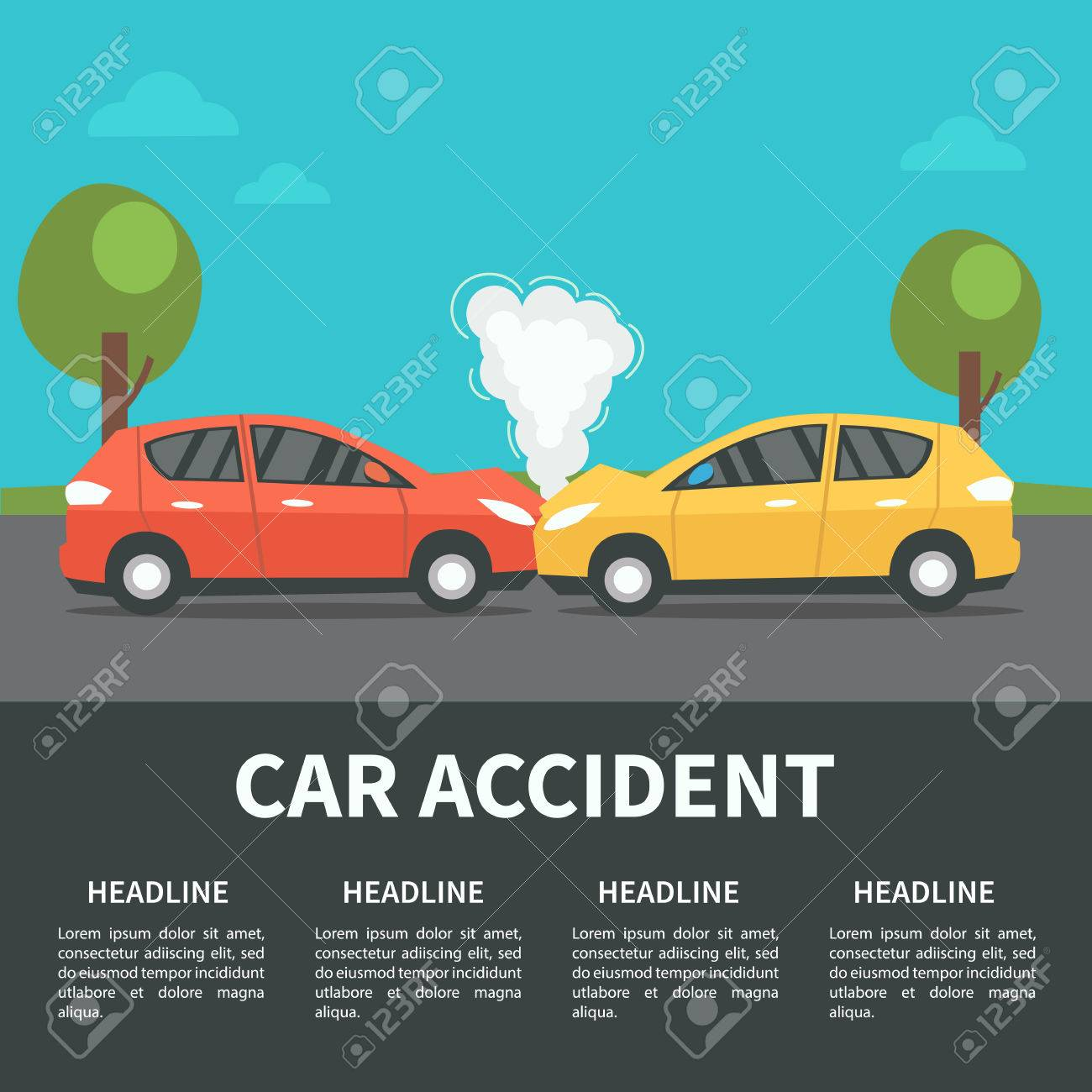 Car Accident Concept Illustration. Vector Infographic Template ...