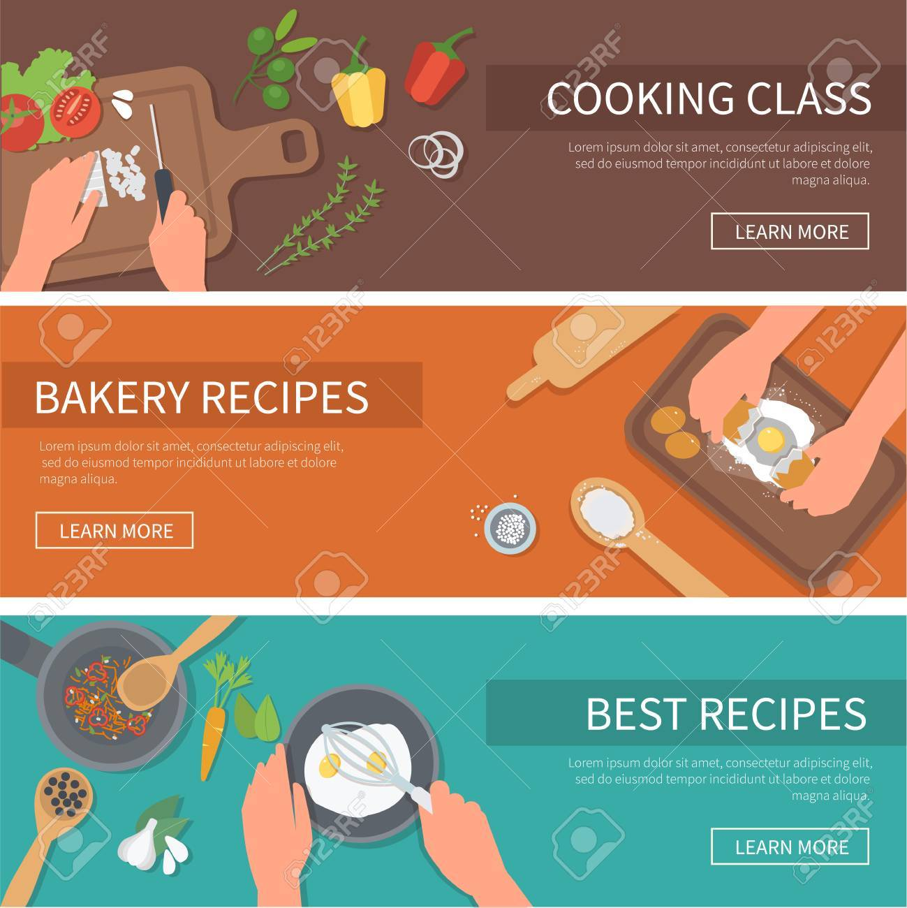 cooking web banners set. Cooking class, bakery, recipes.