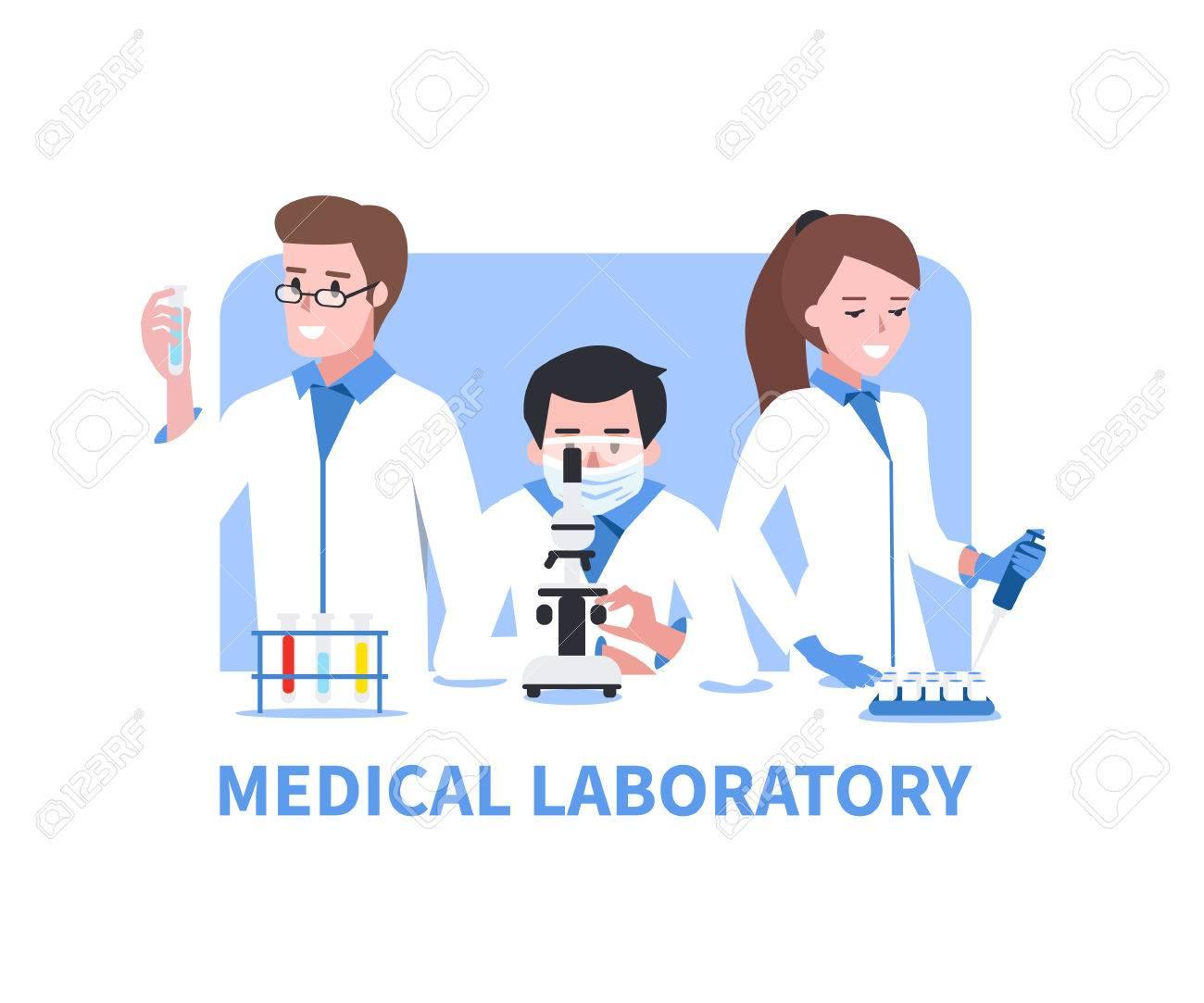 medical laboratory vector concept illustration chemistry scientists rh 123rf com Laboratory Clip Art Laboratory Design Color