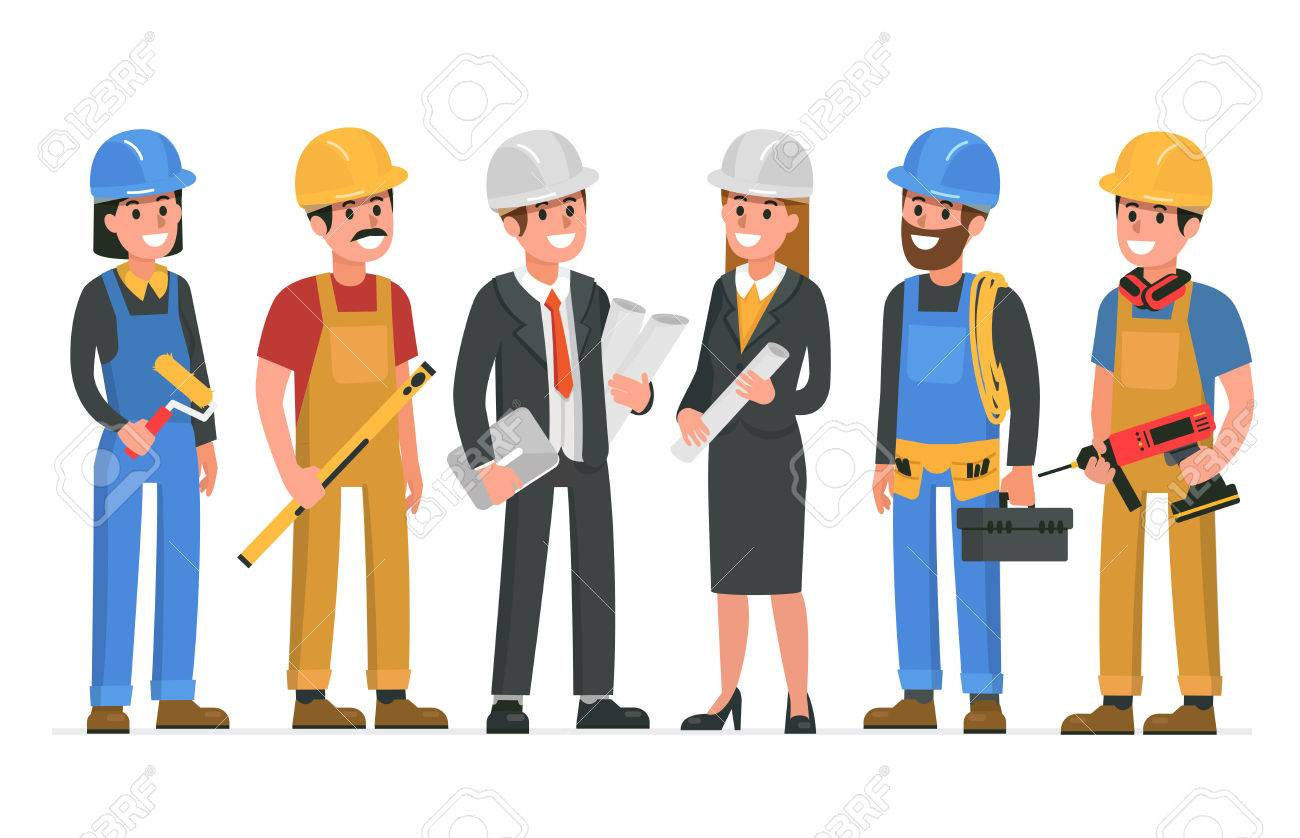 construction workers team vector illustration royalty free