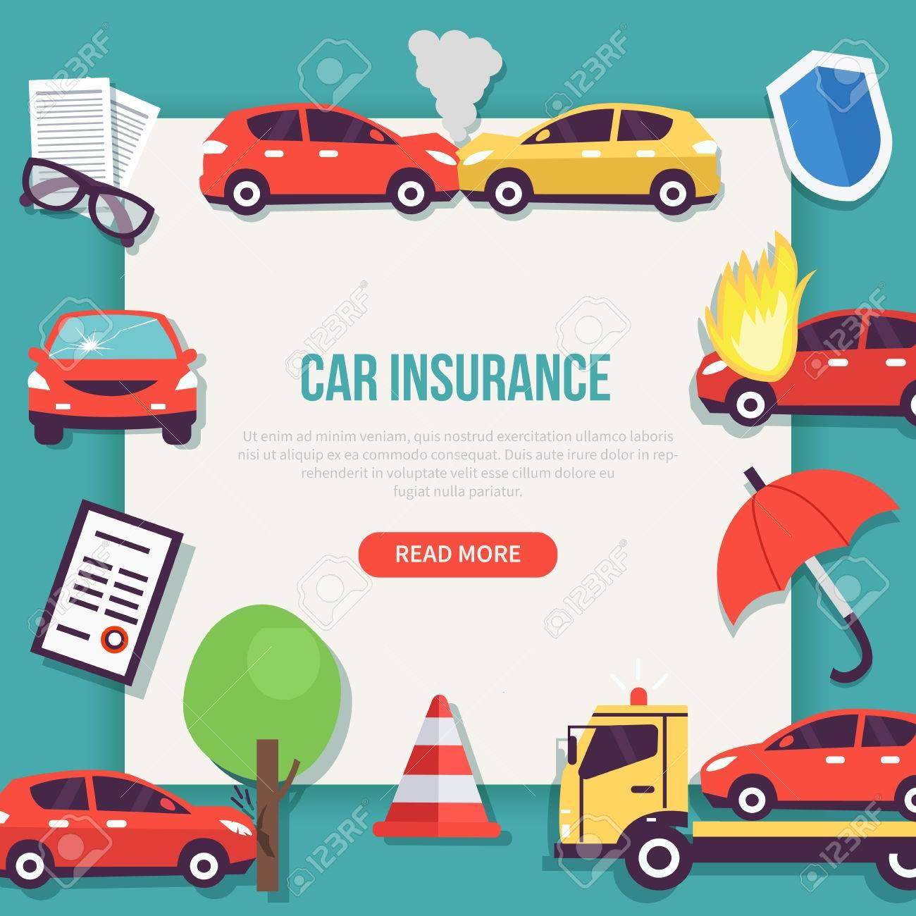 Types Of Car Insurance >> Car Insurance Web Banner Types Of Insurance Cases Vector Illustration