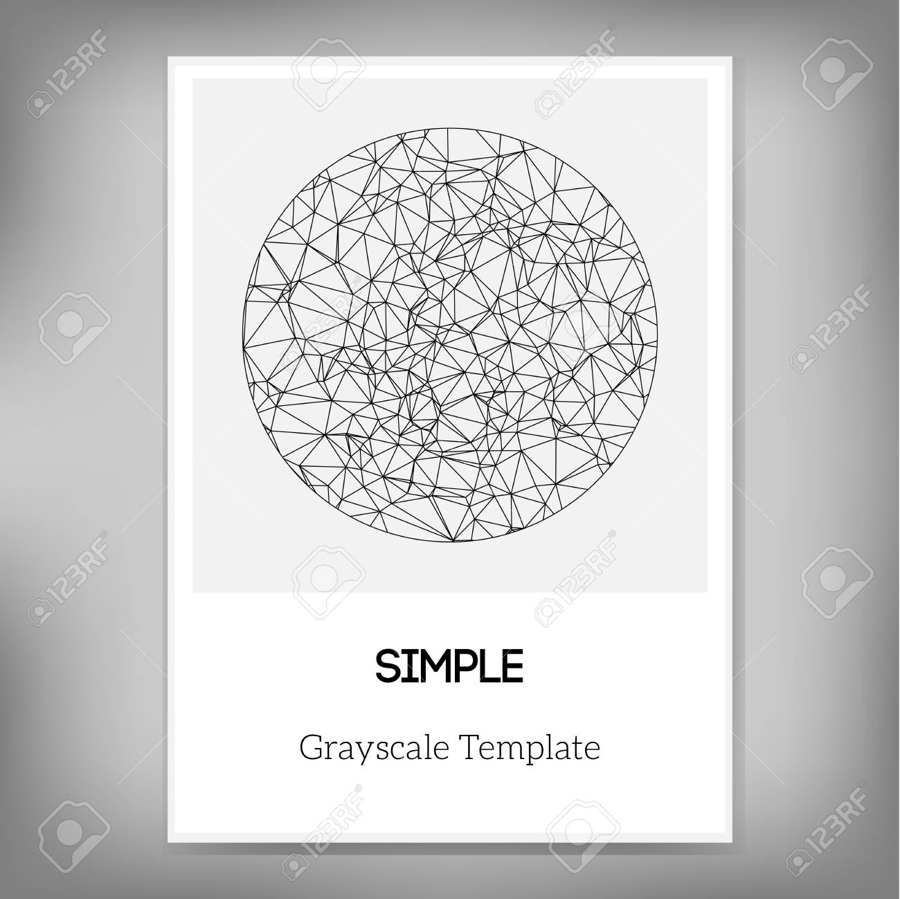 Vector Simple A4 Brochure Template With Abstract Circle In Grayscale ...