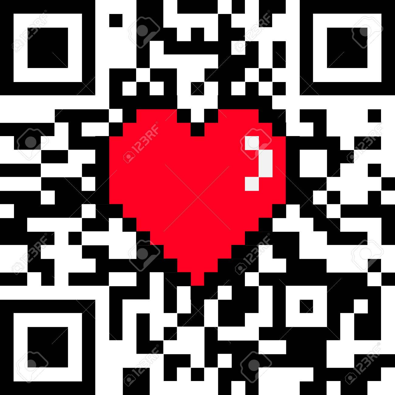 Vector qr code with encoded love caption and 8 bit pixel heart vector qr code with encoded buycottarizona Choice Image