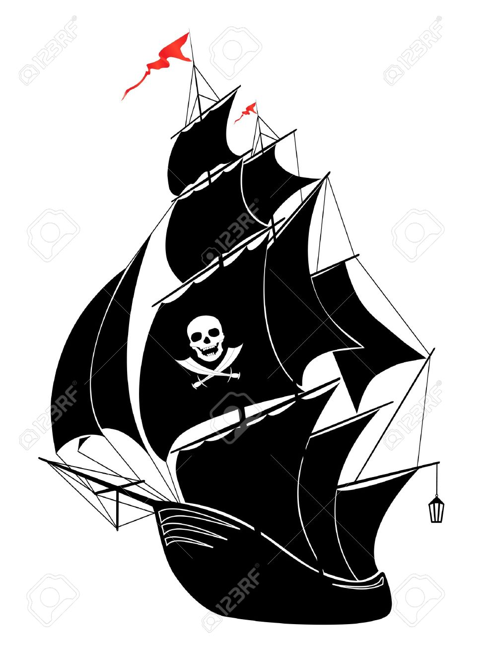 a silhouette of a old sail pirate ship vector illustration royalty rh 123rf com pirate ship vector free pirate ship vector drawing