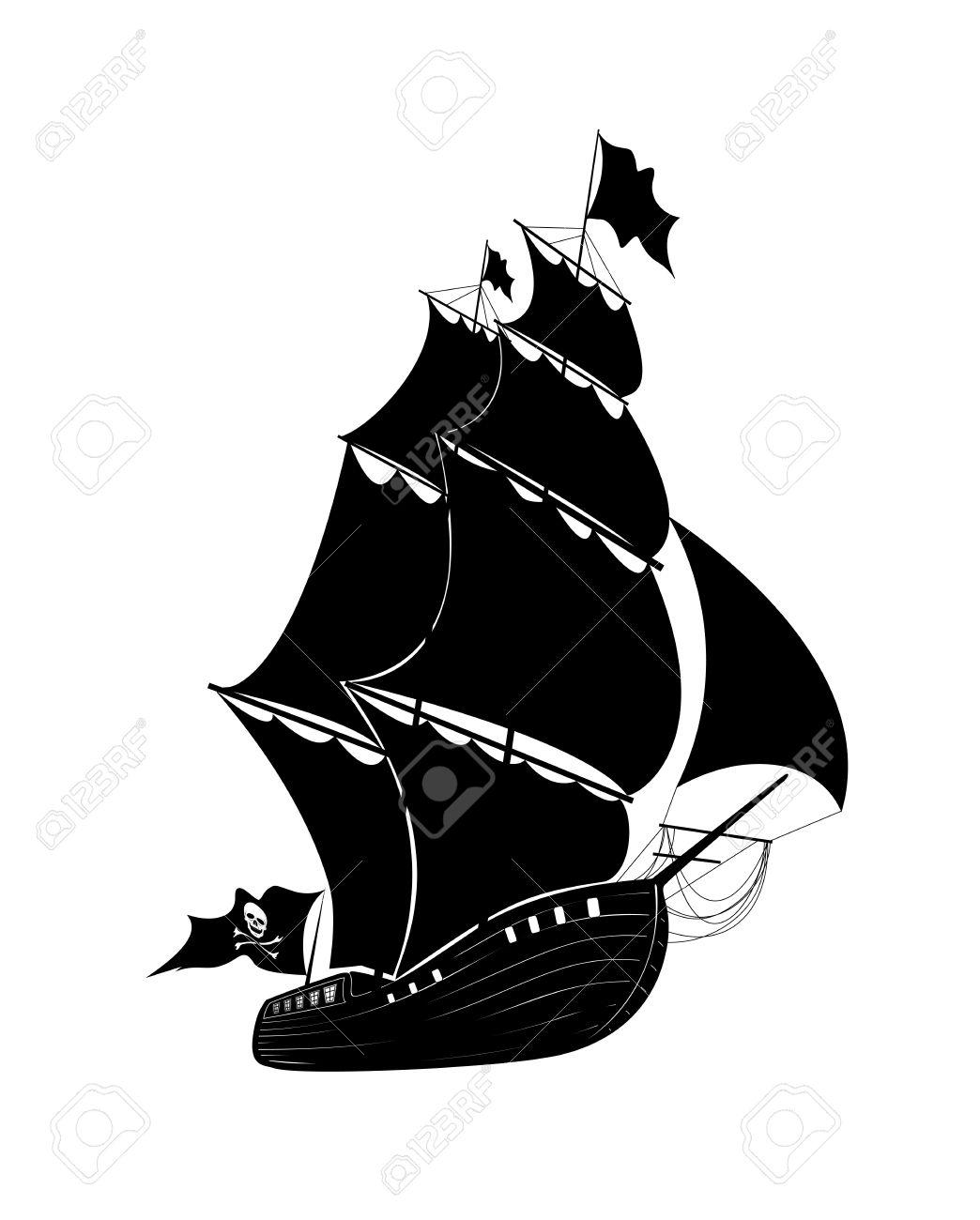 the drawing pirate sailing ship royalty free cliparts vectors
