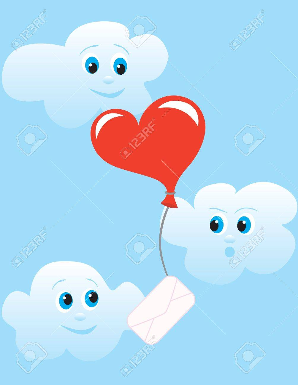Shar as a heart personifying letter flies on sky to the addressee in surroundings playful clouds. Stock Vector - 9450316