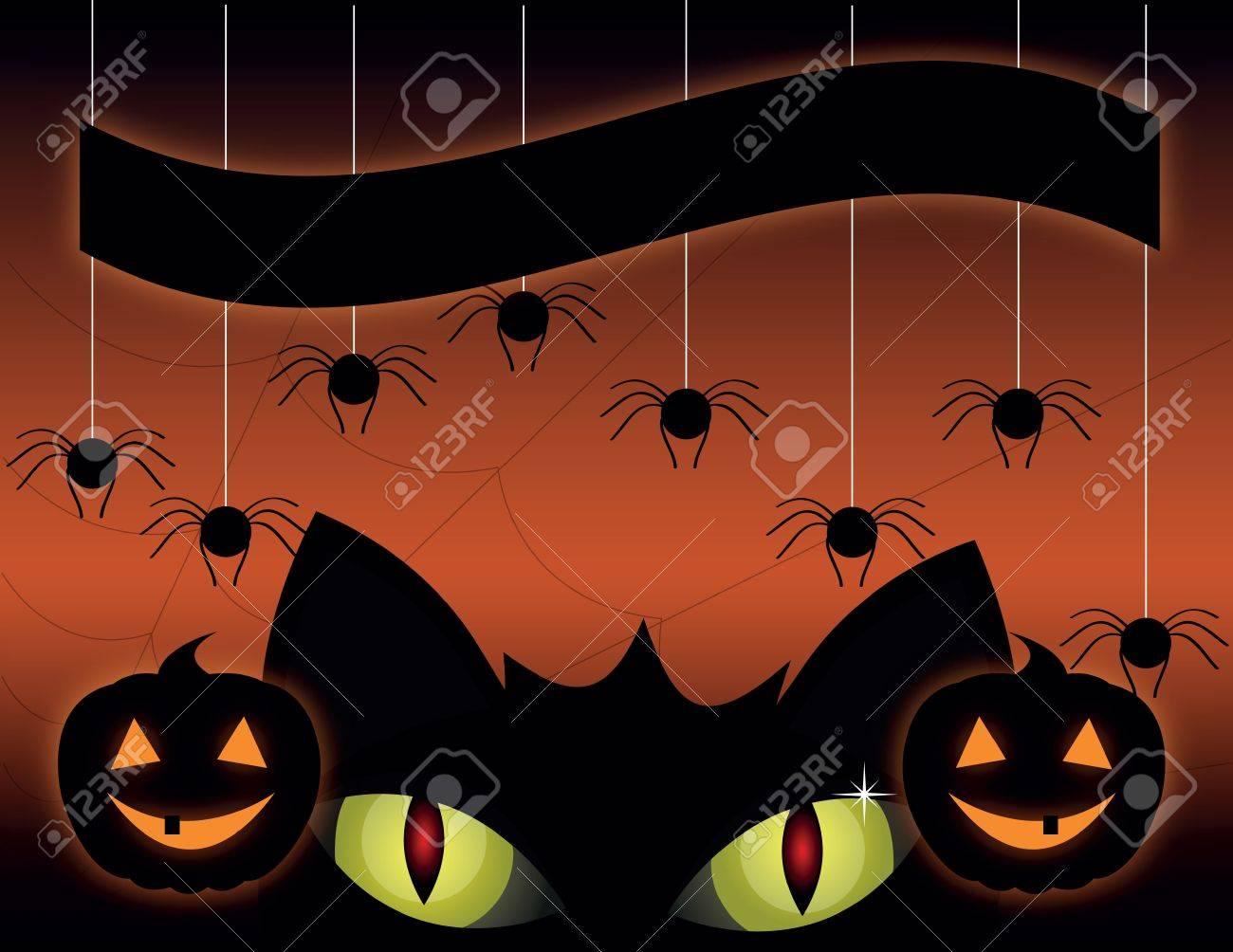 A cute black cat on a Halloween pumpkin. Stock Vector - 9987488