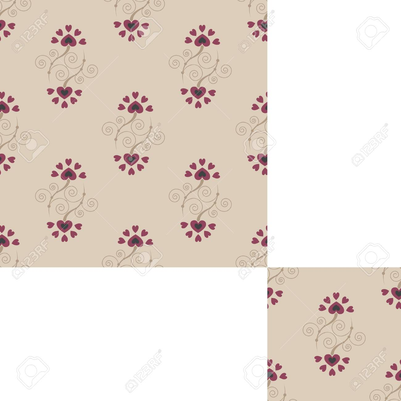 Seamless floral background with abctract flowers of heart Stock Vector - 10105289