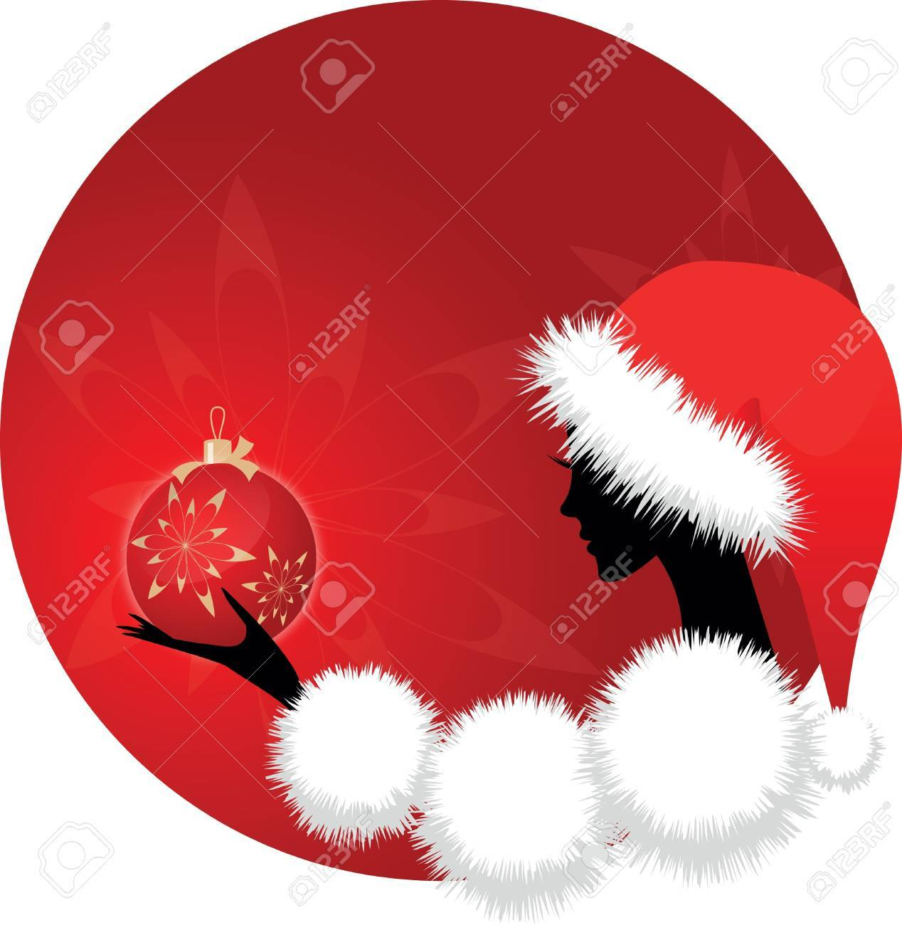 Christmas girl or woman with ball on red background Stock Vector - 10461851