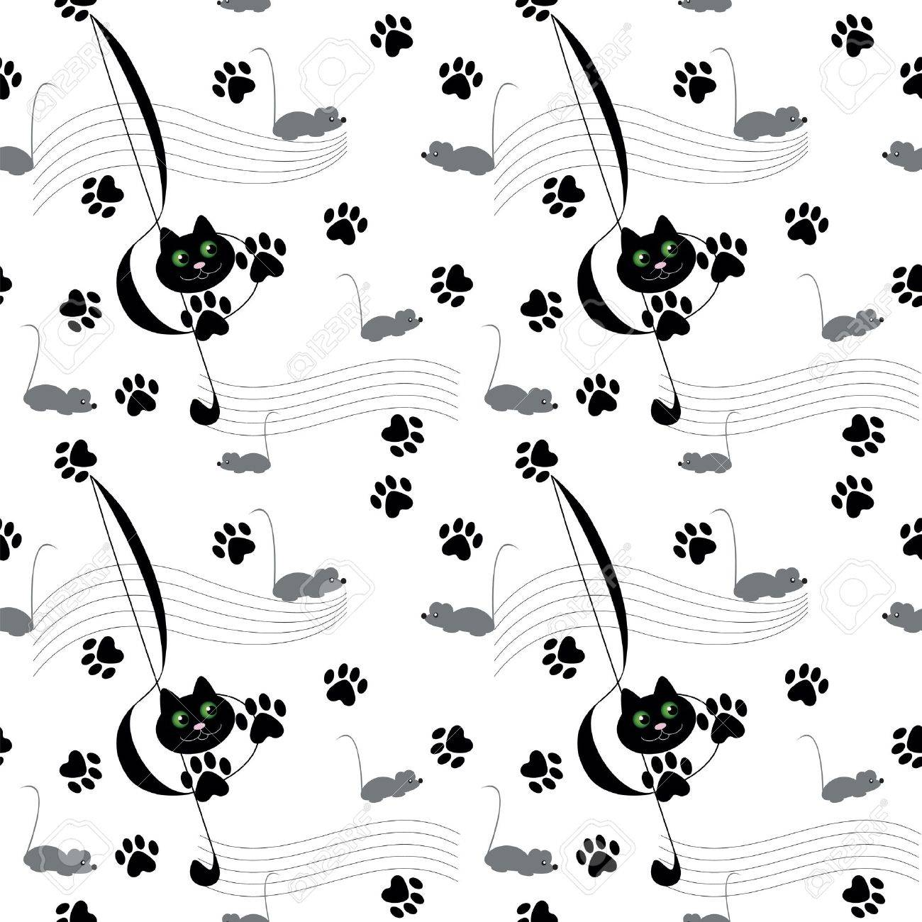 Music theme with cat and many  mouse Stock Vector - 13484330