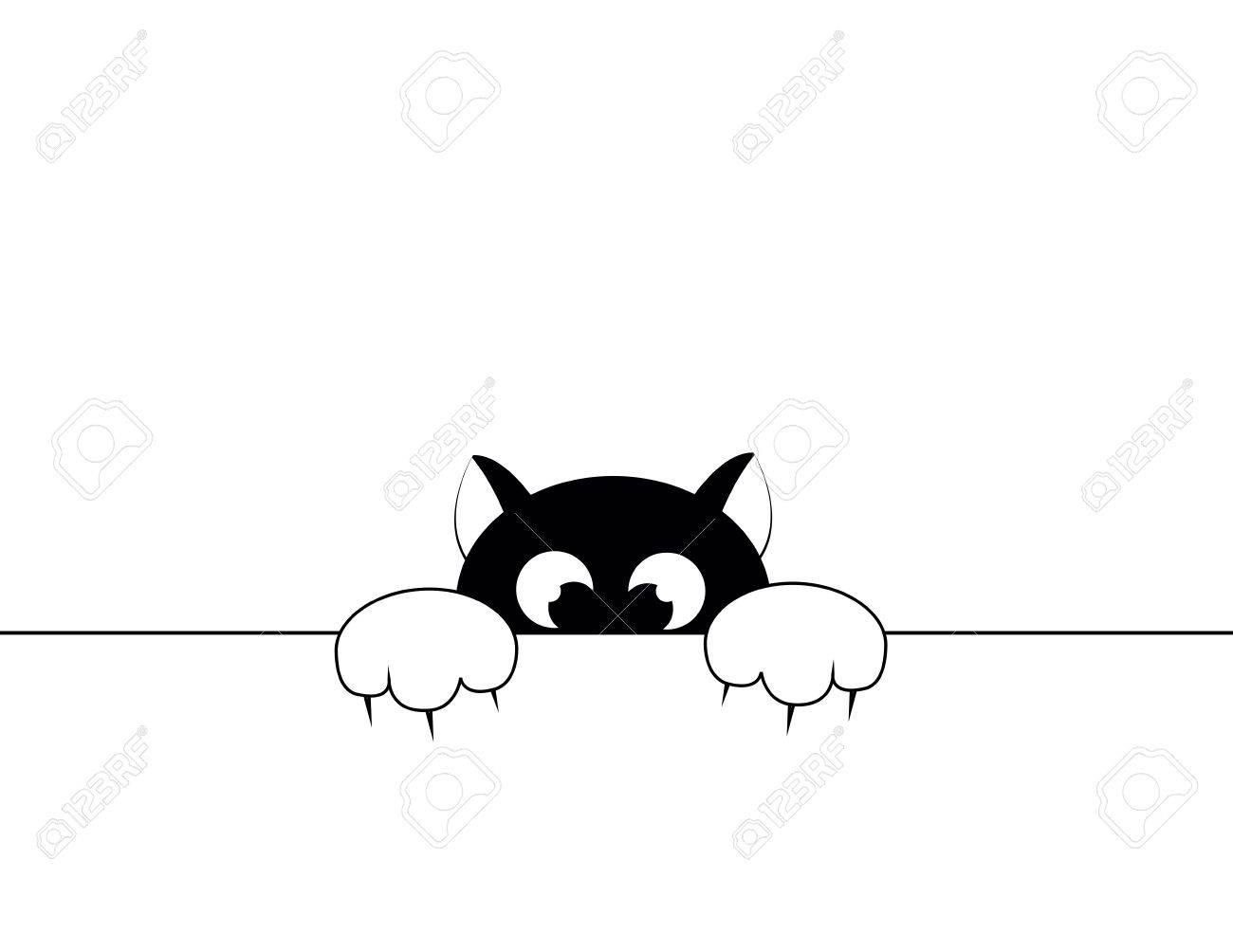black smal cat is afraid of punishment Stock Vector - 16031460