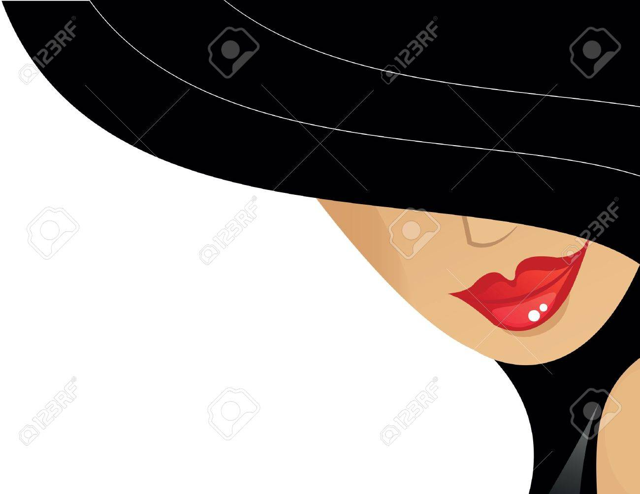 women with black hat and red lips Stock Vector - 16945573