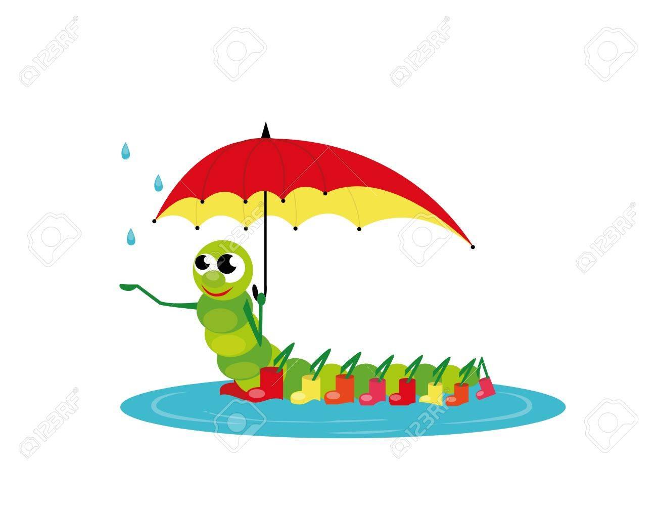 botte pluie chenille avec parapluie rouge et des bottes Illustration