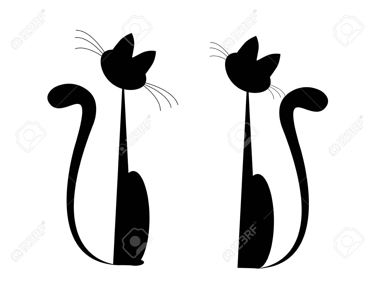 Set Of Two Cats Vector Royalty Free Cliparts Vectors And Stock