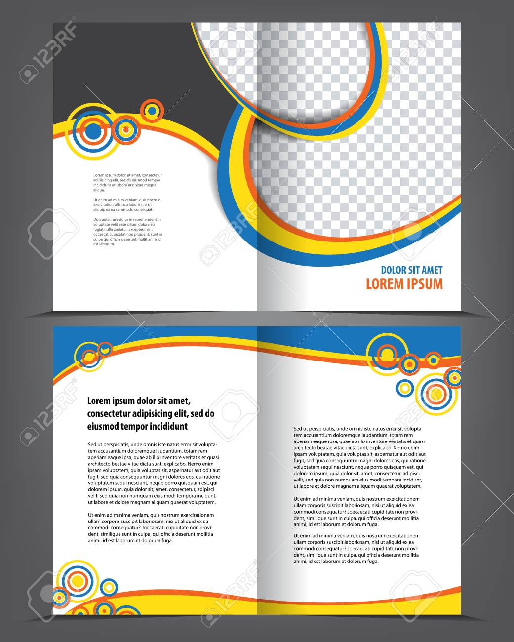 Vector Empty Bi Fold Brochure Print Template Design Booklet