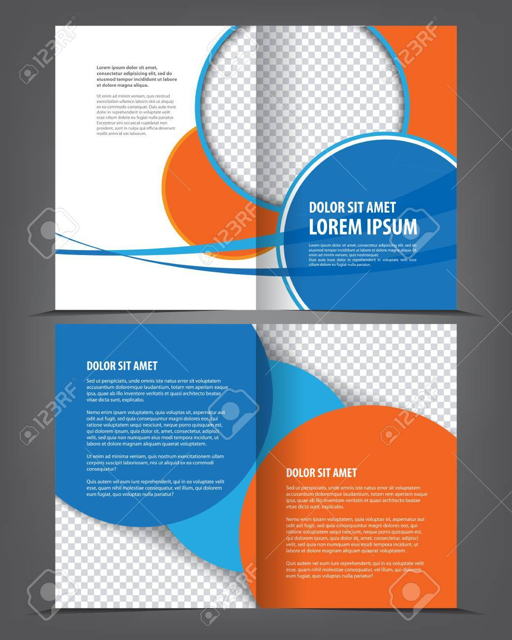 vector empty bifold brochure template design with orange and
