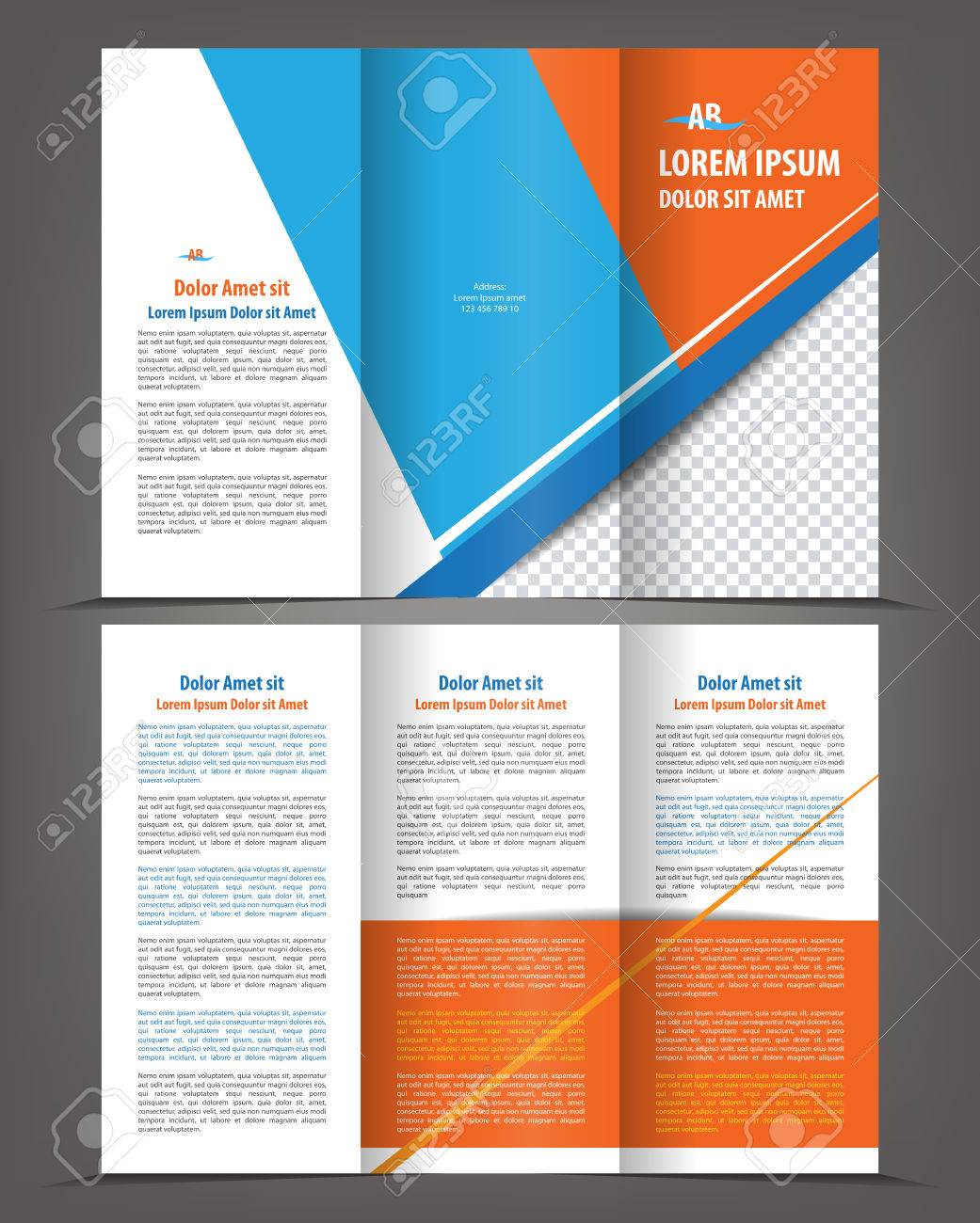 Vector Empty Trifold Brochure Template Design With Blue And Orange - Tri brochure template