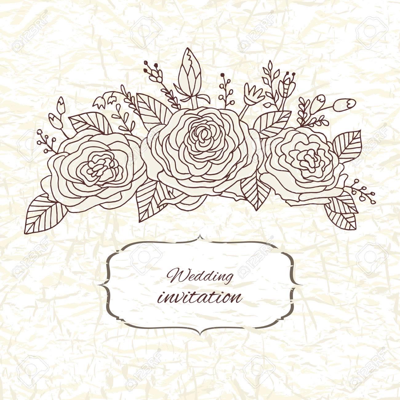 Tarjeta De Invitación De La Boda Del Vector Con Las Rosas Rococó Barroco Vintage Adornado Fondo Floral Ahorre La Fecha Ornamento