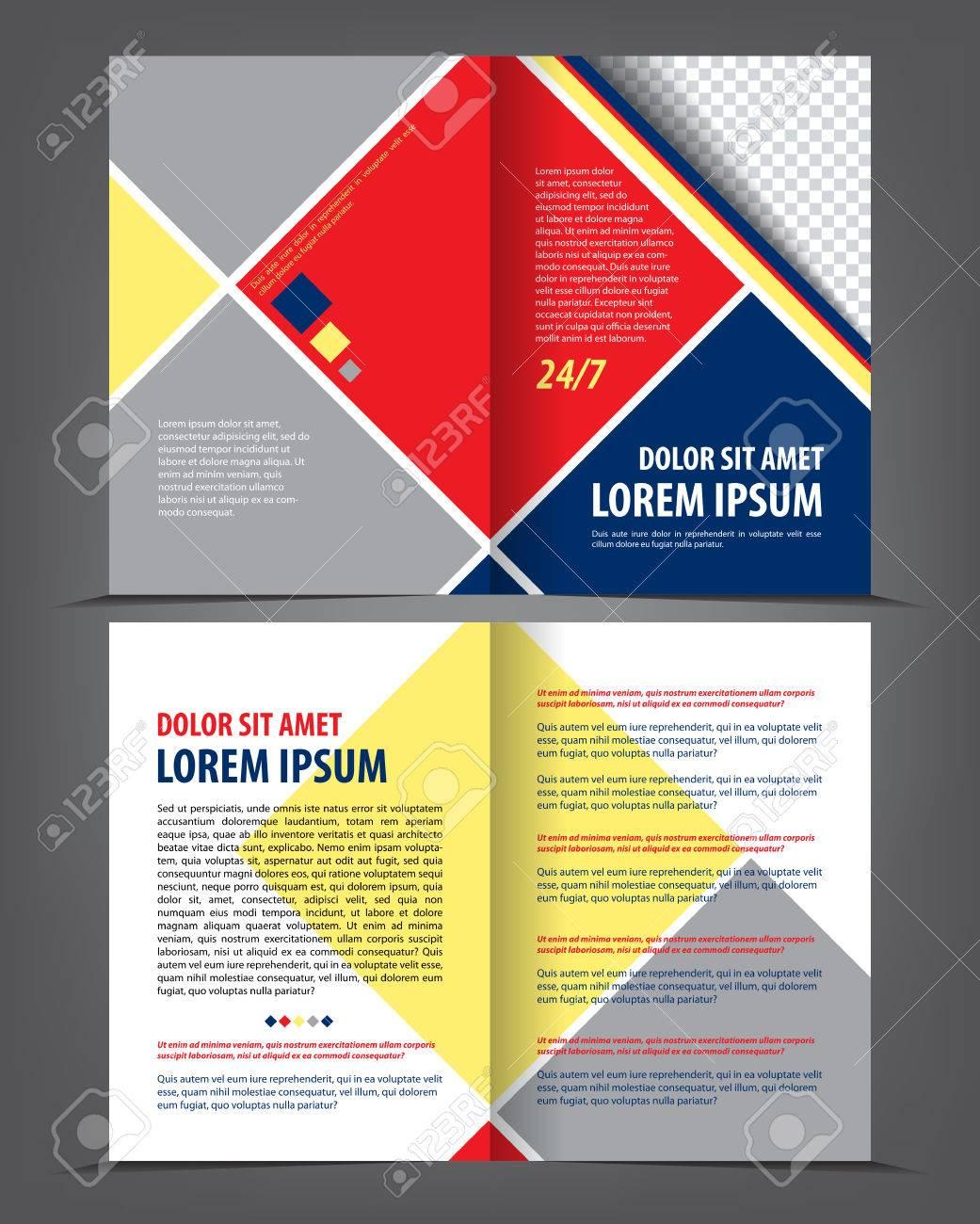 Vector Leer Bi-fold Broschüre Druckvorlage Design Mit Blauen Und ...