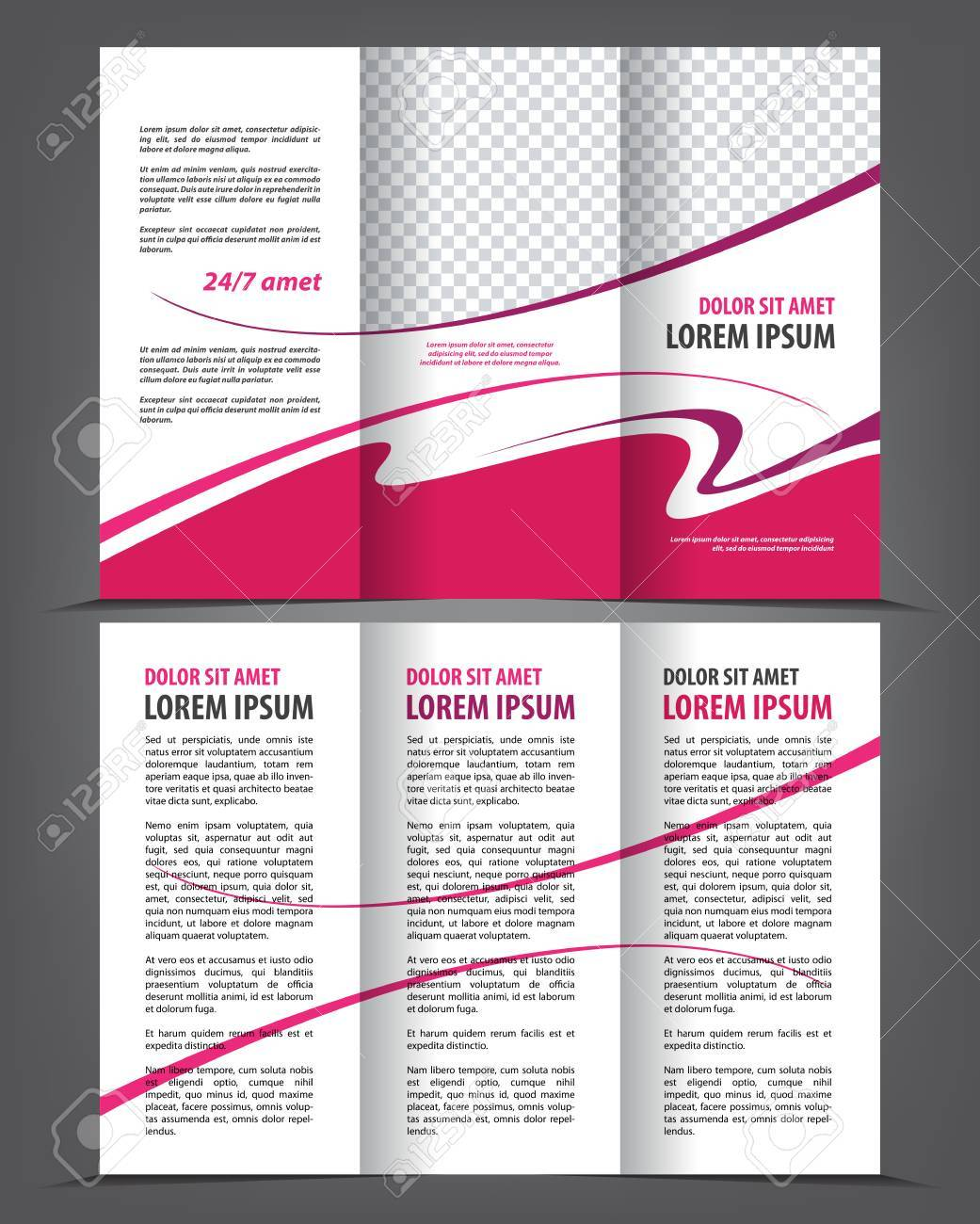 Vector Empty Trifold Brochure Print Template Design Trifold - Template for trifold brochure