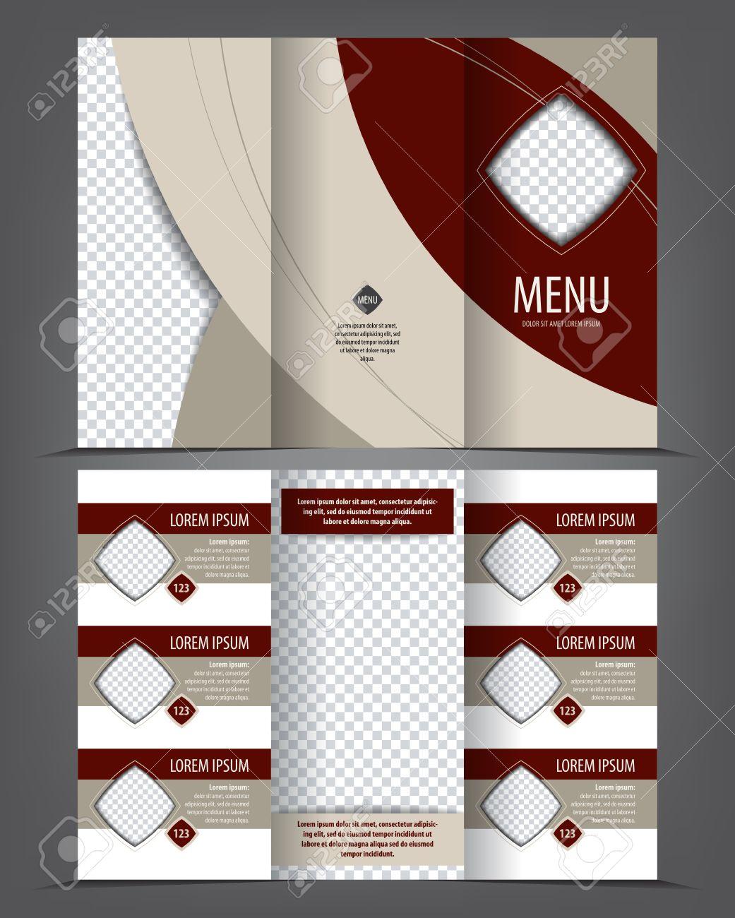 vector tri fold menu print template design empty layout restaurant