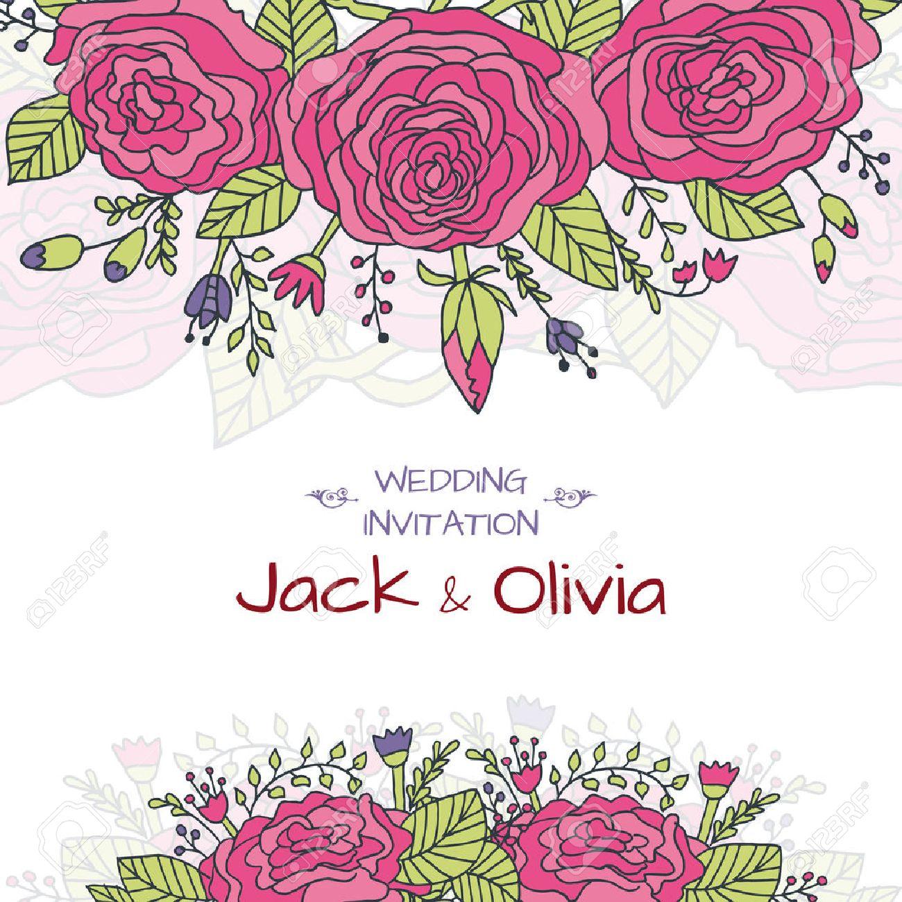 Vector Wedding Invitation Card With Vintage Baroque Rococo Roses ...