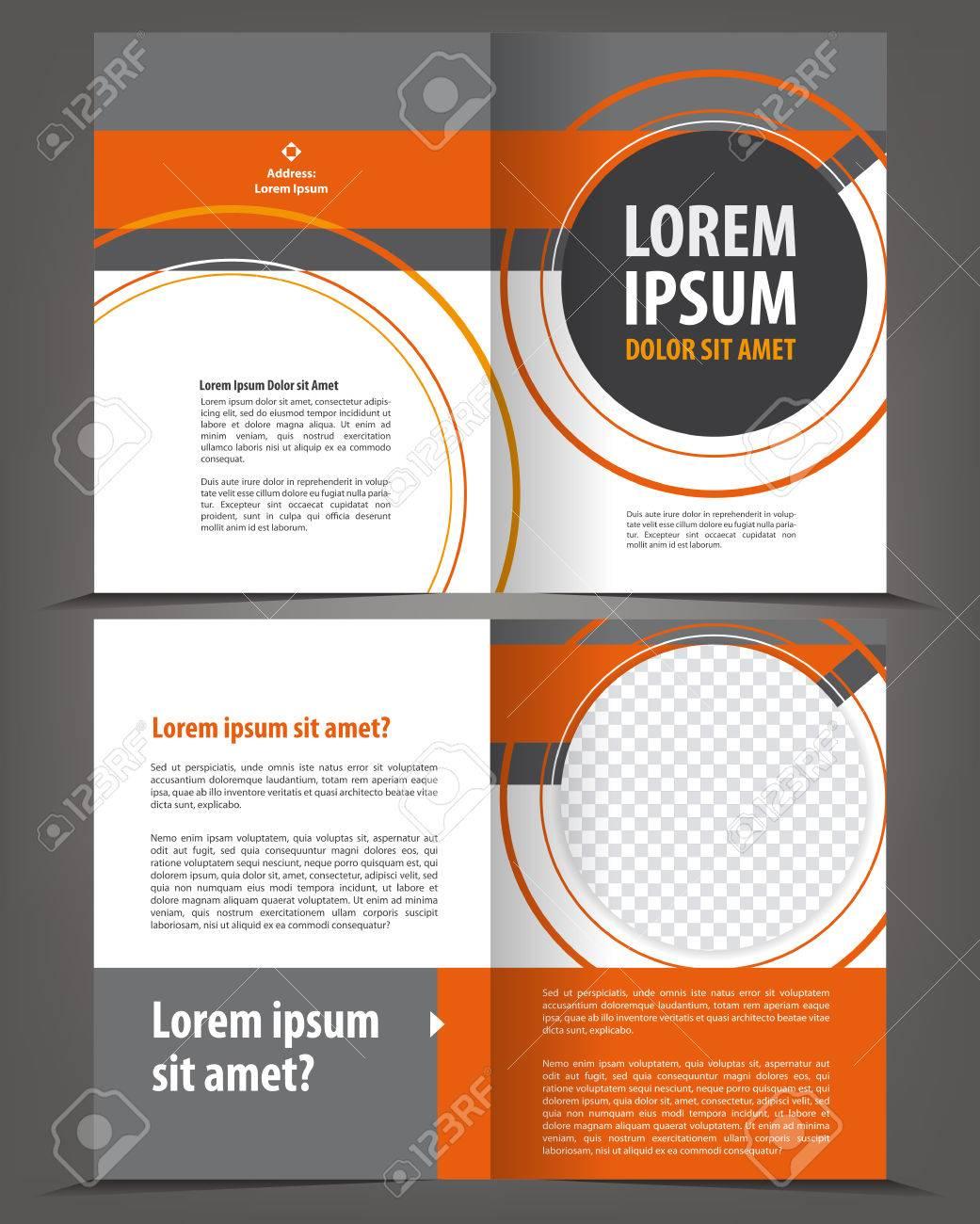 vector empty bifold brochure template design with orange and