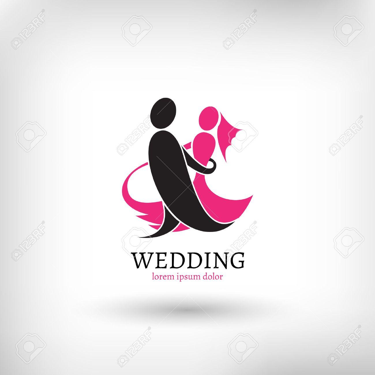 Vector wedding logo design template, marriage couple ceremony symbol - 46601258