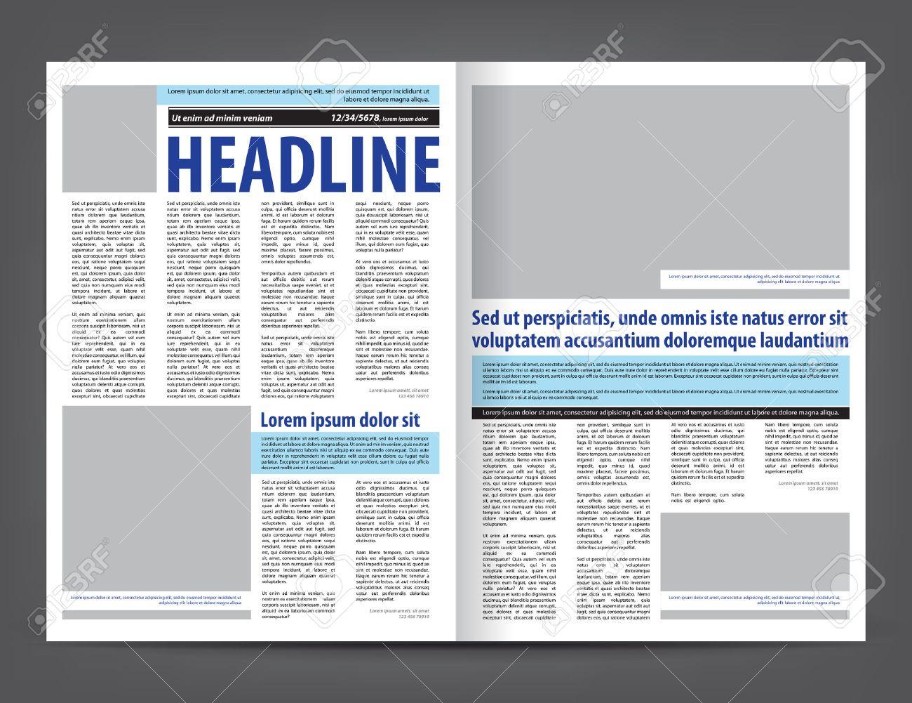 Vector Empty Newspaper Print Template Design Layout With Blue – Newspaper Layout Template