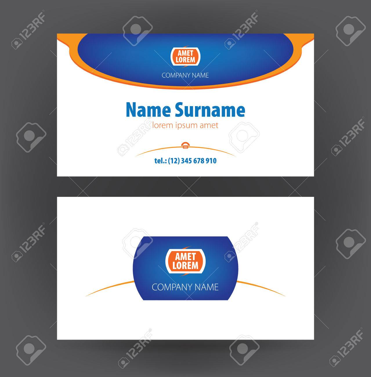 Set of vector simple professional designer horisontal personal set of vector simple professional designer horisontal personal business cards or blue glossy visiting card stock reheart Choice Image