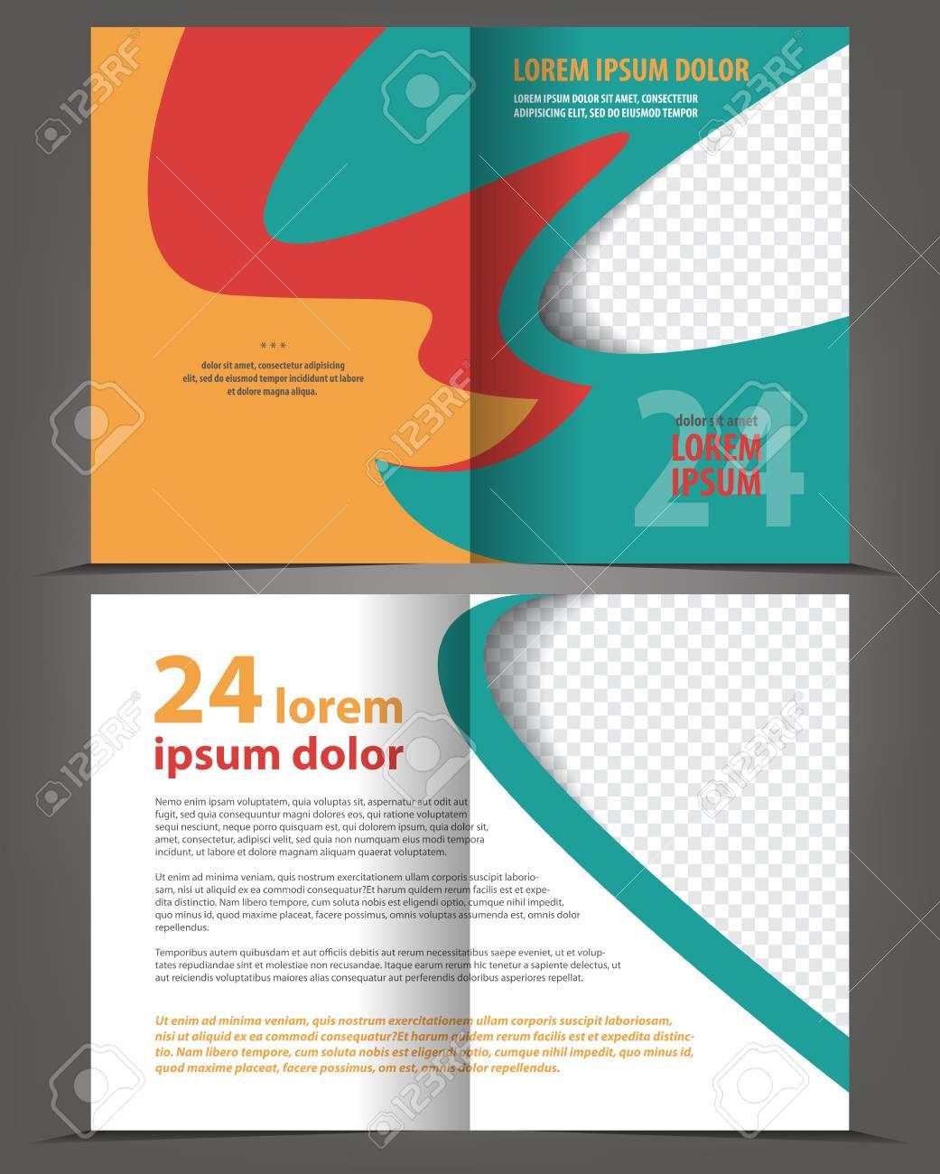 Vector Leer Bi-fold Broschüre Druckvorlage Design- Lizenzfrei ...