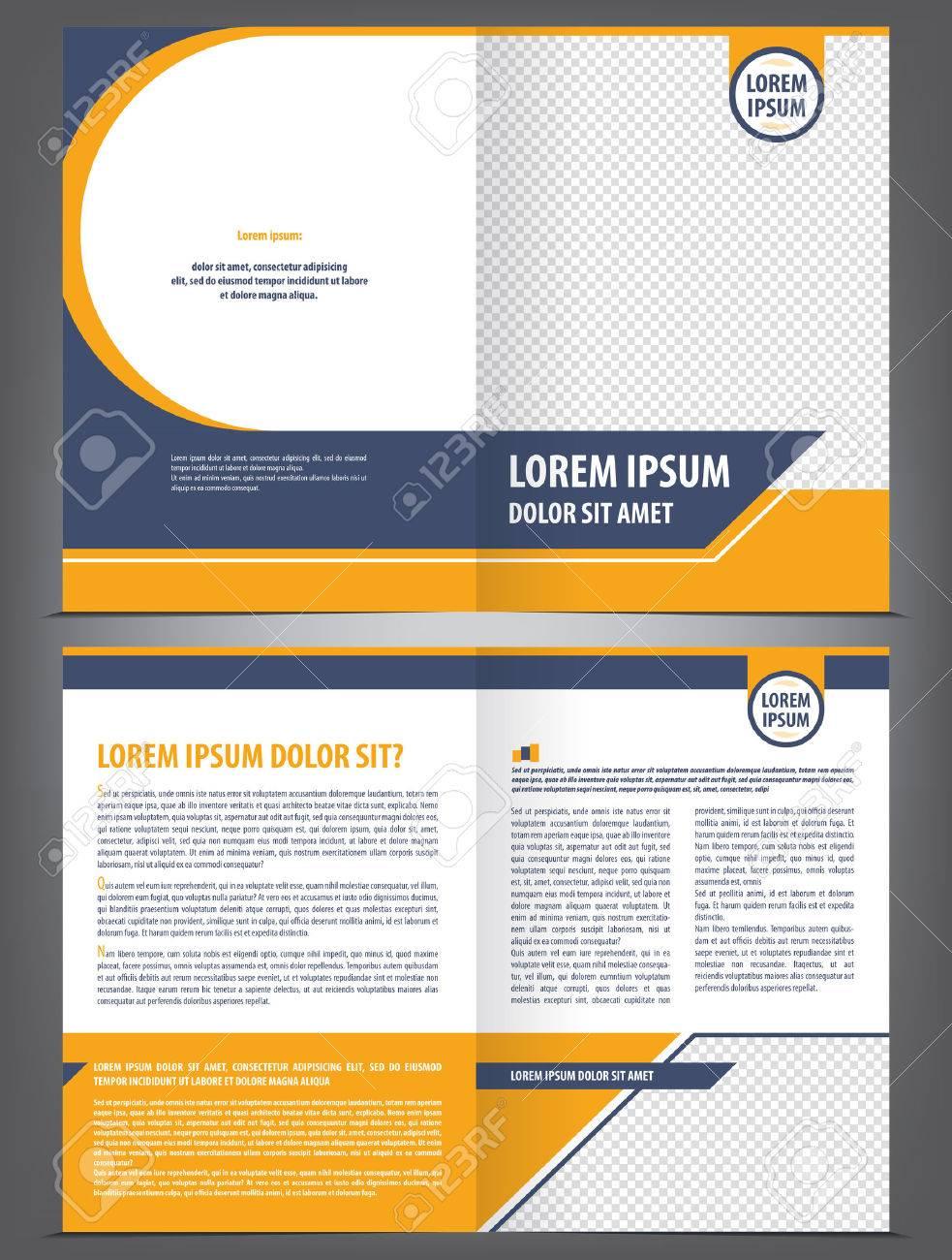 Vector Empty Brochure Template Design With Orange And Dark Blue