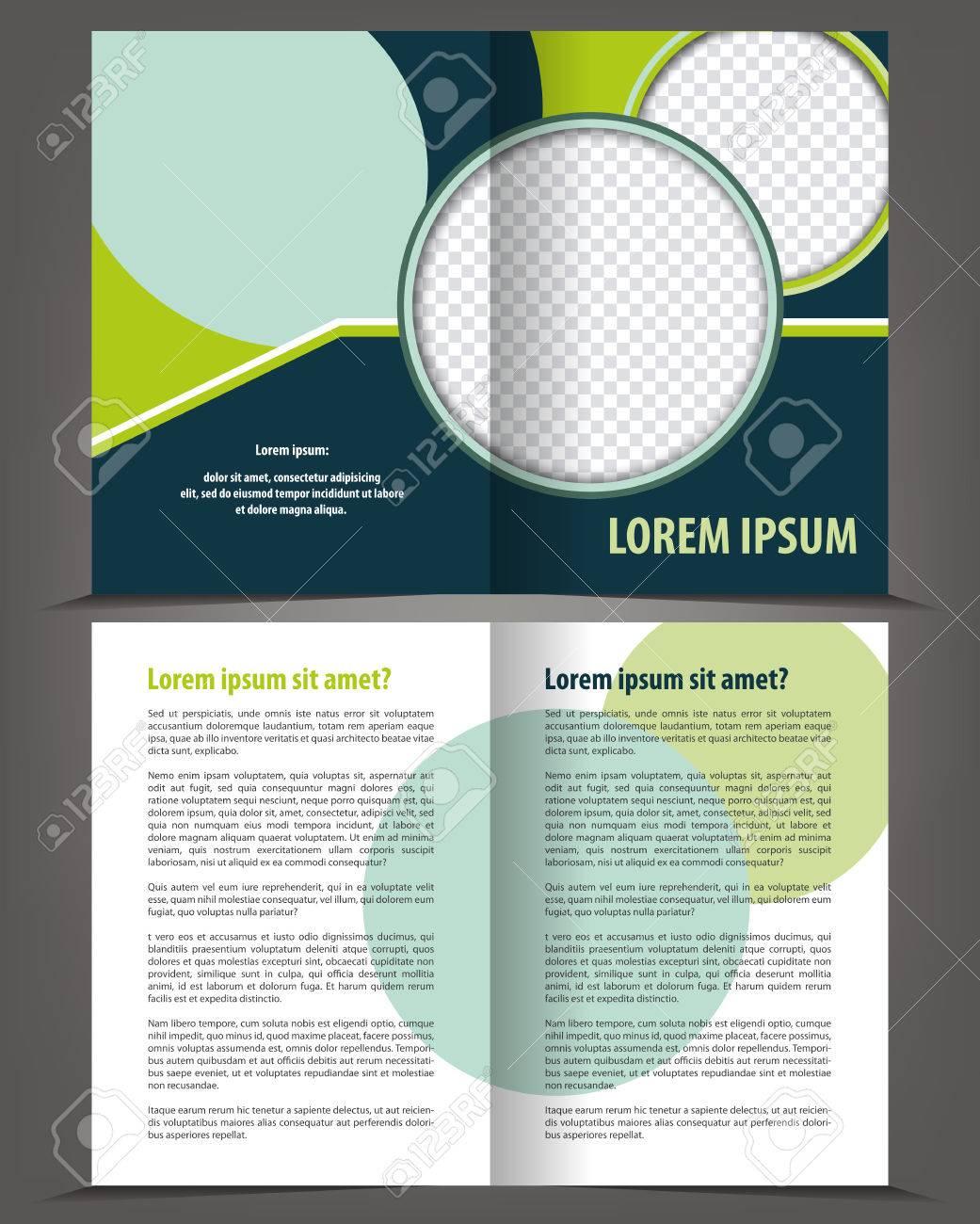 Vector Leer Bi-fold Broschüre Druckvorlage Design Mit Blau Und Grün ...