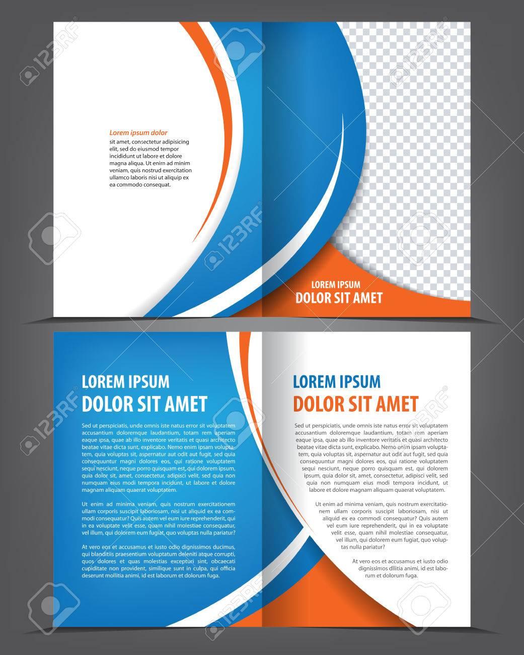 Vector Leer Bi-fold Broschüre Druckvorlage Design Mit Blauen ...