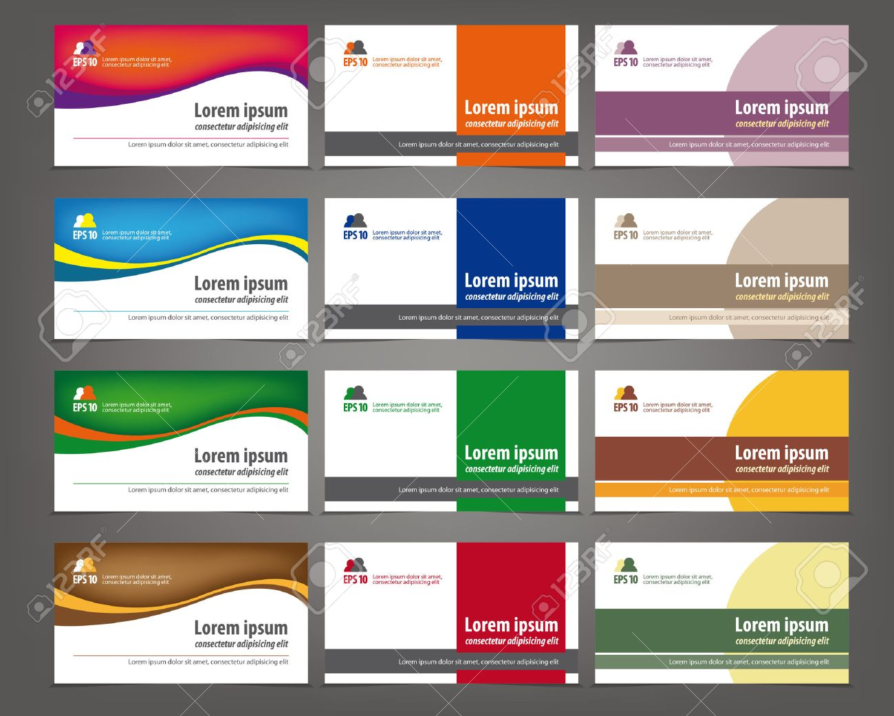 Set of 12 professional and designer horizontal business cards set of 12 professional and designer horizontal business cards or visiting cards stock vector 46566980 colourmoves