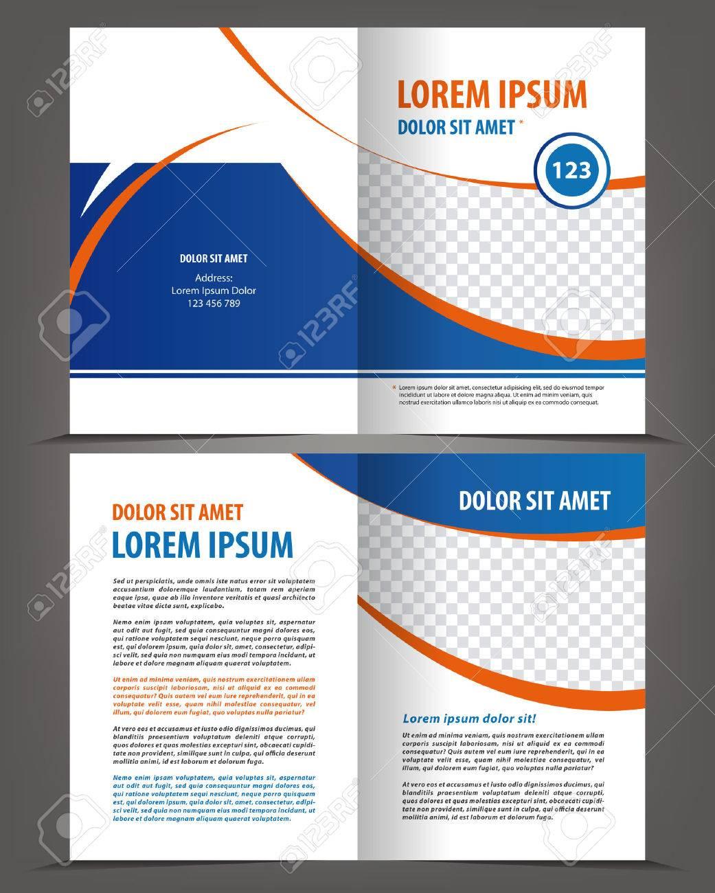 Vector Leer Bifold Broschüre Druckvorlage Design Mit Blauen ...